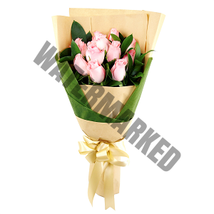 pink roses cheap Hand Bouquet Singapore