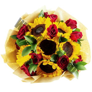 roses and sunflowers Hand Bouquet Singapore