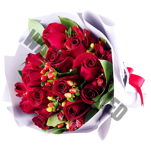 Anniversary 12 red roses Hand Bouquet