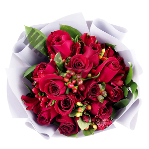12 red roses Hand Bouquet Singapore