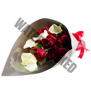 calla and red roses Anniversary flowers Hand Bouquet