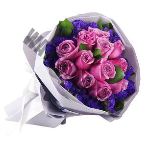 Purple Roses Hand Bouquet Singapore