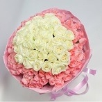 send white and pink 99 Rose Bouquet Singapore