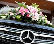 pink theme roses and lilies fresh flower Wedding Car Decor Singapore