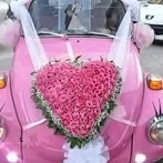 Heart shape pink roses Wedding Car Decoration Singapore