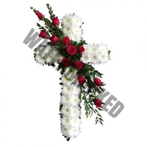 WS-21 TRIBUTE FUNERAL CROSS WREATH