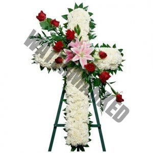 WS-23 TENDERNESS FUNERAL CROSS WREATH