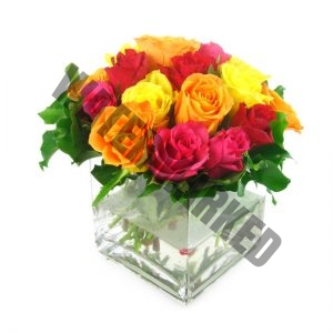mixed color roses table flower for dining